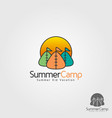 kid summer camp logo template vector image