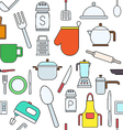 Kitchen items colorful pattern icons vector image vector image