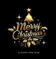 merry christmas golden lettering design on black vector image