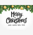 merry christmas text fir tree branches and vector image vector image