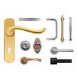 modern door handles silver and golden metal vector image