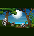 night forest with three lemur vector image vector image
