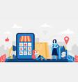 online shopping concept big smartphone vector image