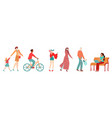 people in city pedestrians flat set muslim vector image