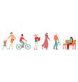 people in city pedestrians flat set muslim vector image vector image