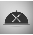 Restaurant icon with cloche and crossed fork and vector image vector image