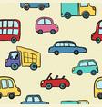 seamless pattern hand drawn cute cartoon cars vector image vector image