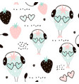 seamless pattern with creative strawberry vector image