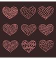 set hand drawn hearts ornate ink drawing vector image vector image