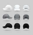 set white black and gray baseball cap vector image vector image