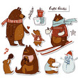 set with cute bears vector image vector image