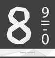 set with low poly numbers 8 9 0 isolated on vector image
