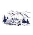 sketch nature with mountains and camping design vector image vector image