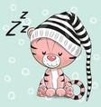 sleeping cute tiger in a hood vector image vector image