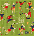 soccer players and cheerleaders seamless pattern vector image vector image
