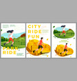 summer sport posters set - rolling in park vector image vector image