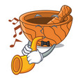 with trumpet cartoon wooden mortars with metallic vector image