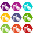 women shoe icon set color hexahedron vector image vector image