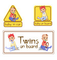 baby in car sign stickers or vector image