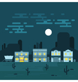 an old western town at night Saloon hotel and vector image vector image