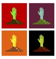 assembly flat icons halloween zombie hand vector image vector image