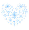 beautiful heart made of blue snowflakes vector image