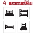black bed icons set vector image vector image
