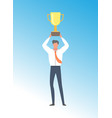 businessman achieving business excellence prize vector image vector image