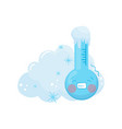 cartoon of frozen thermometer with vector image vector image