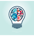 Creative Light Bulb Left and Right Brain Idea Icon vector image vector image