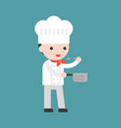 cute chef tasting food while holding saucepan and vector image