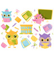 cute wise owls and school supplies school vector image