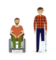 disability people concept two invalid men with vector image vector image