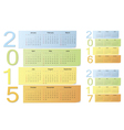 European 2015 2016 2017 color calendars vector image vector image