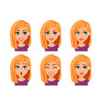 facial expressions woman with blonde hair vector image vector image