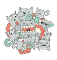Funny cat doodles vector image vector image