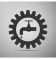 Gearwheel with tap sign as plumbing work logo flat vector image