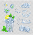 glass with water lemon slice green mint and ice vector image