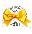 gold gift bow satin isolated red glamour bow for vector image
