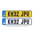great britain plate template set with font vector image