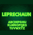 green yellow neon alphabet on a dark background vector image vector image