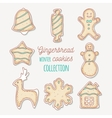 Hand drawn gingerbread cookies Winter sweets vector image vector image