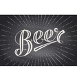 Hand drawn lettering Beer on chalkboard background vector image vector image