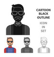 hipster icon in cartoon style isolated on white vector image vector image