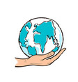 human hand holding blue globe drawing design vector image
