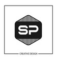 initial letter sp logo template design vector image