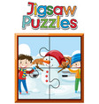jigsaw puzzle game with boys and snowman vector image vector image