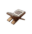 koran book religious text islam on stand vector image vector image