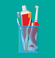 manual and electric toothbrush toothpaste glass vector image vector image