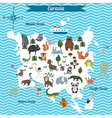 map of eurasia continent with different animals vector image vector image